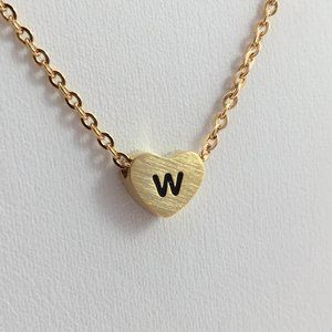Jewelry - Letter W heart love necklace gold tone new